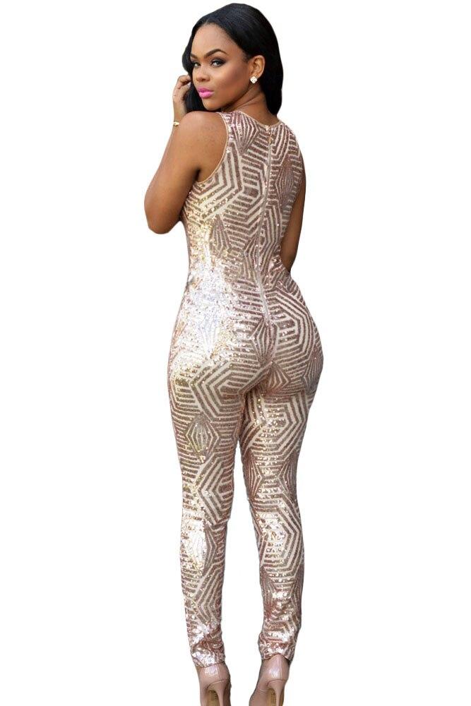 bd72d2e77d Sidefeel Hot Venda Nova Moda Macacão Feminino Mulher Charming Champagne Black  Gold Lantejoula Geométrica Jumpsuit Playsuit LC60895 em Macacões de Roupas  das ...