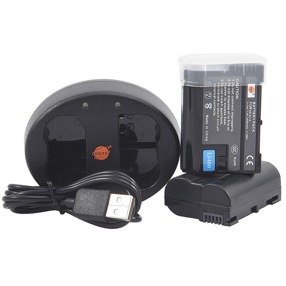 DSTE 2 STÜCKE EN-EL15 Kamera Batterie Mit Dual USB Ladegerät für NIKON D500 D7000 D7100 D800 D800E D600 D610 D810 D7200 D7500 V1 D850