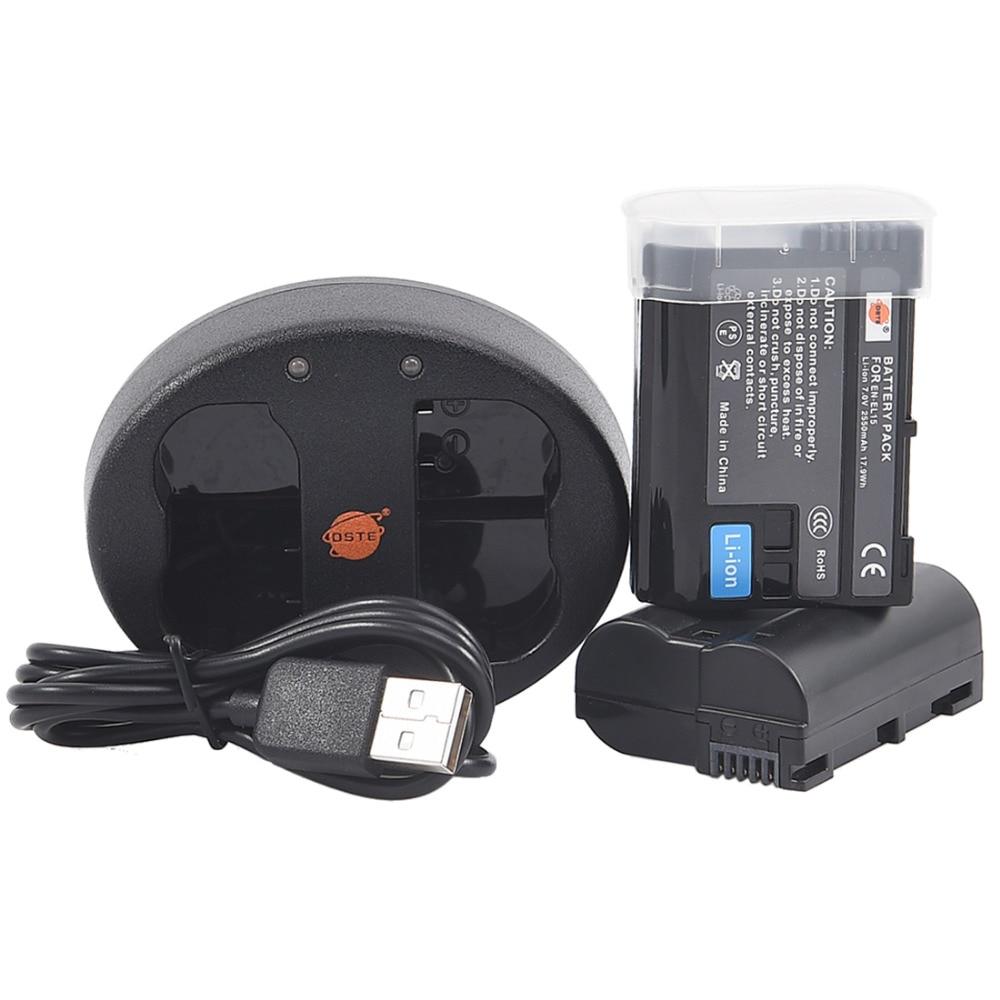 DSTE 2PCS EN-EL15 Camera Battery With Dual USB Charger for NIKON D500 D7000 D7100 D800 D800E D600 D610 D810 D7200 D7500 V1 D850
