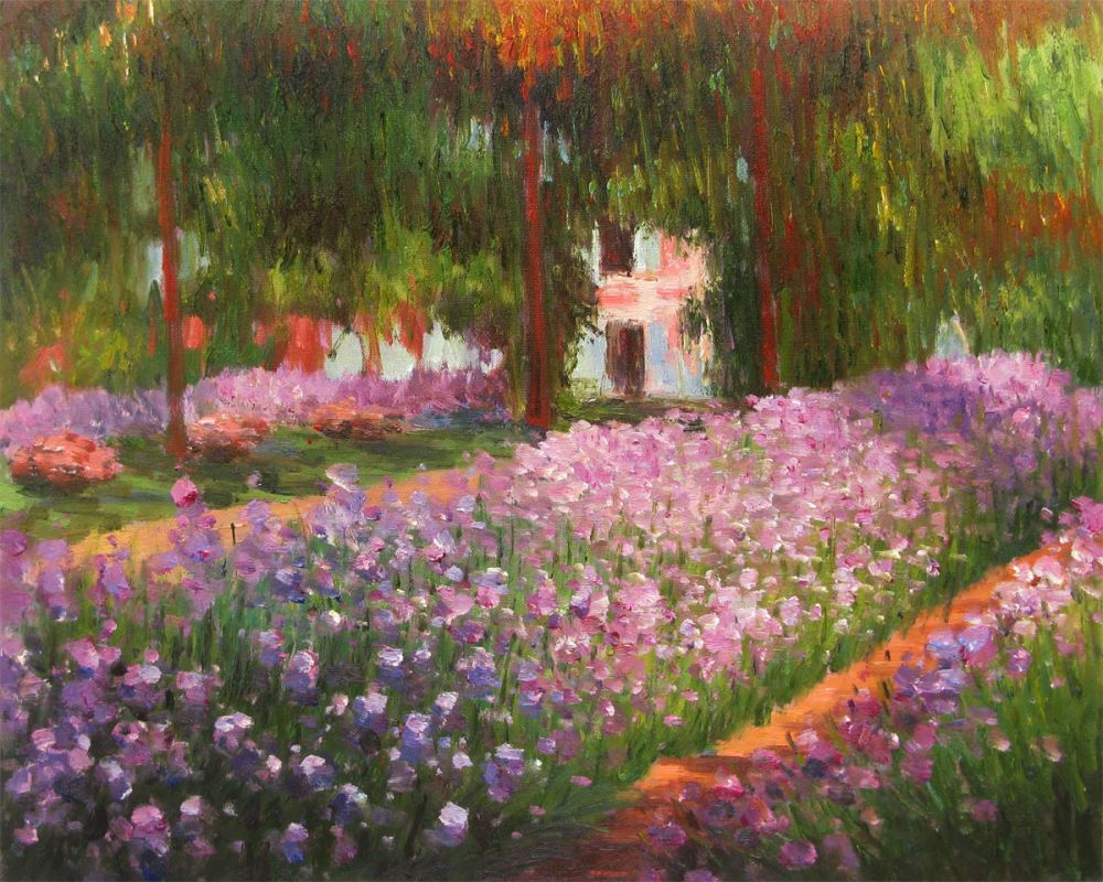 jardin fleur peinture l 39 huile pour salon jardin de l 39 artiste giverny par claude monet. Black Bedroom Furniture Sets. Home Design Ideas