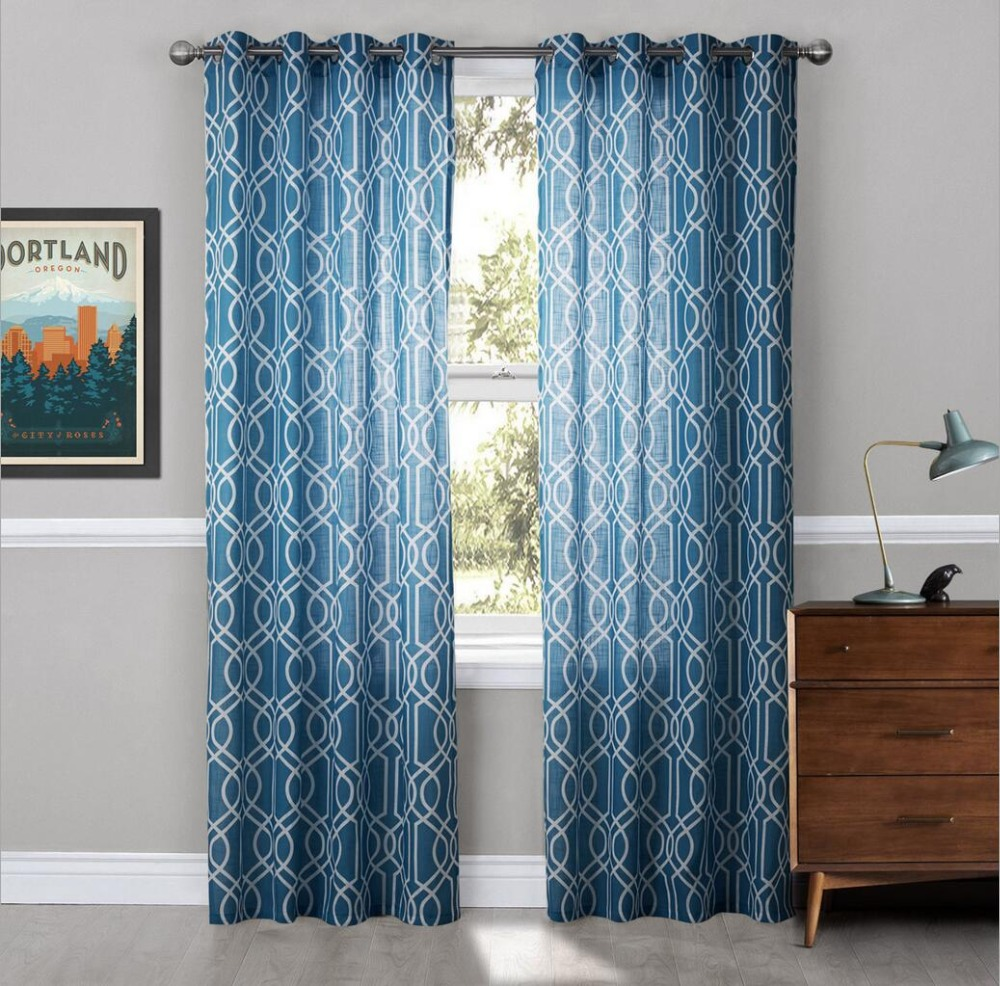 Teal Blackout Curtains Us 30 11 Sunnyrain 1 Piece Linen Cotton Geometric Semi Blackout Curtain For Living Room Window Curtain For Bedroom Drape Top With Eyelet In