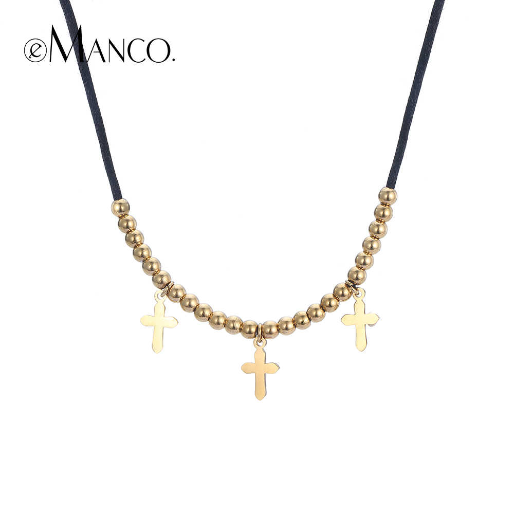 eManco Cross Choker Necklaces For Women Stainless Steel Pendant Necklaces Gold Color Bead Rope Chain Fashion Jewelry Drop Ship
