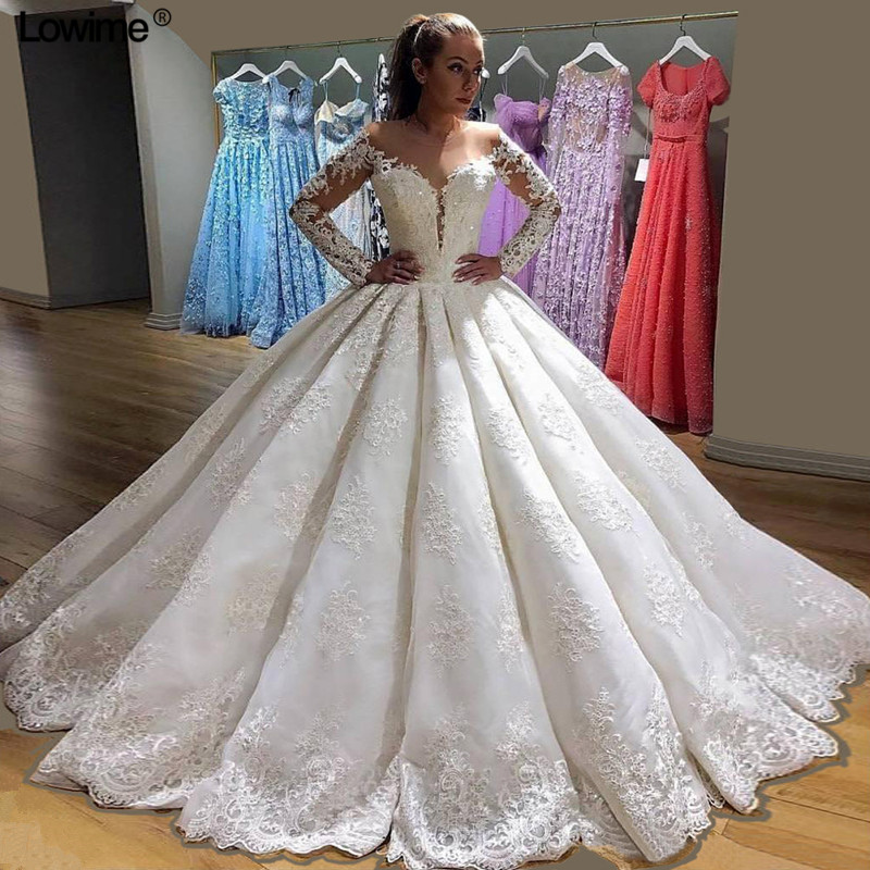 Plus Size White Lace Ball Gown Wedding Dresses With Sequin