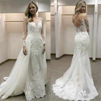 2019 New Design Appliqued Tulle Wedding Dresses Sheer Long Sleeve Sexy Backless Bride Dress vestidos de casamento