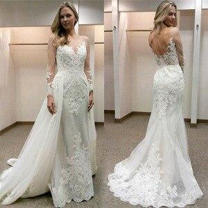 Image 1 - 2019 New Design Appliqued Tulle Wedding Dresses Sheer Long Sleeve Sexy Backless Bride Dress vestidos de casamento