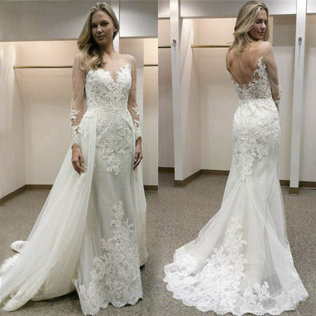 2019 New Design Appliqued Tulle Wedding Dresses Sheer Long Sleeve Sexy Backless Bride Dress vestidos de casamento