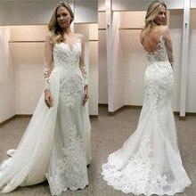 2019 새로운 디자인 appliqued tulle 웨딩 드레스 깎아 지른 긴 소매 섹시한 backless 신부 드레스 vestidos de casamento