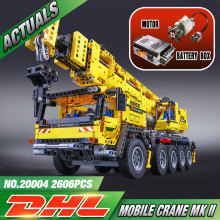 LEPIN 20004 2606Pcs Technic Motor Power Mobile Crane Mk II Model Building Kits Minifigure Blocks Bricks Christmas Gift Toy 42009