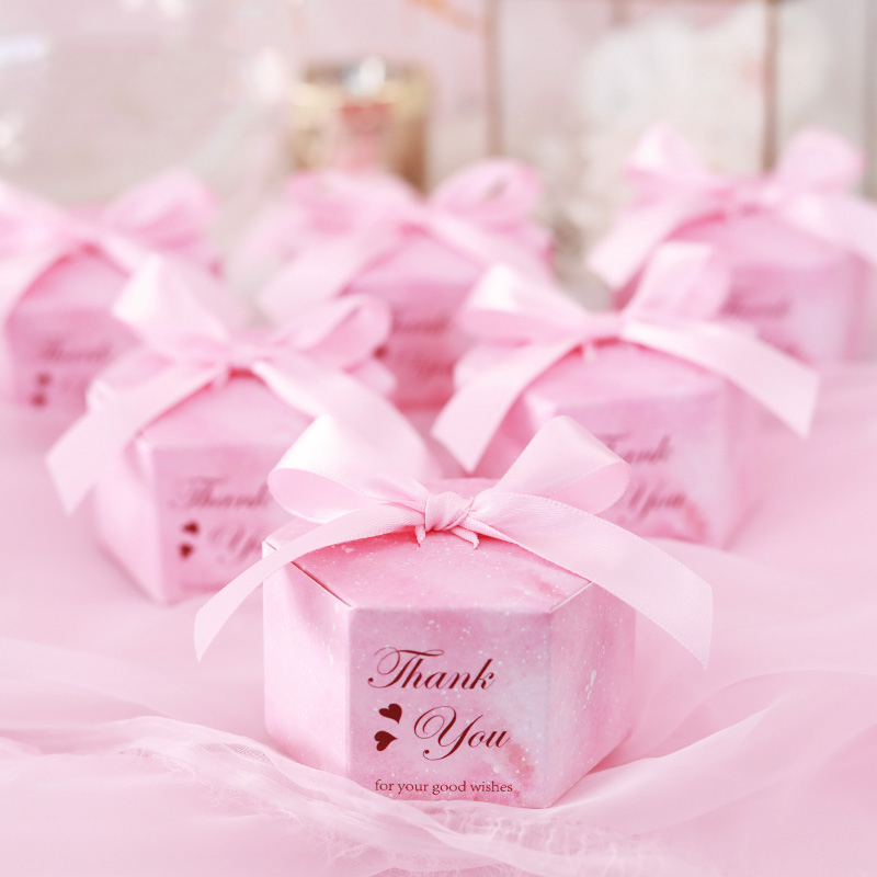 50/100 Pink Starry Sky Hexagon Candy Boxes Wedding Baby Shower Gift Boxes Thank You Chocolate Boxes Christmas Party Decoraions