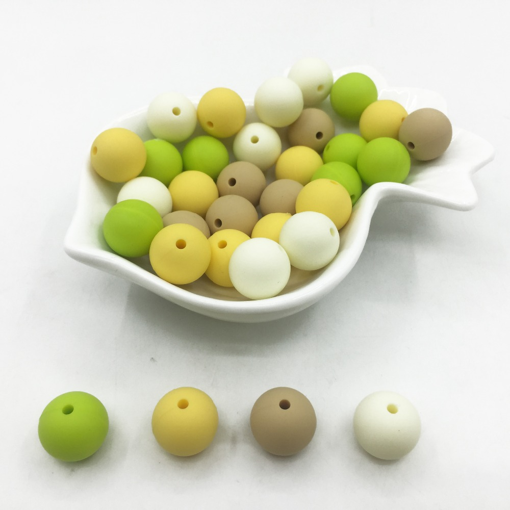 15 мм круглые детские цвета прорезывания зубов шарики ребенок жевательные FDA Сейф прорезывания зубов конфеты цвета бисер 100 шт./лот DIY ювелирн...
