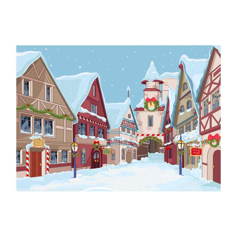 Horizontal vinyl print cartoon snow Christmas town photography backdrops for photo studio portrait background ST-480