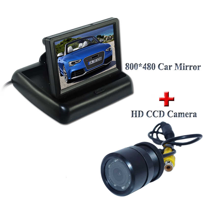 Black Abs shell universal car parking system 4.3 car screen monitor +hot selling car parking camera bring some lights