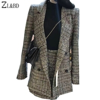 ZL BD Plus Size 3XL Two Pieces Set Fitness Top Skirt Women Spring Winter Fashion Plaid