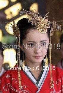 Vintage Chinese Traditional Wedding Jewelry Adorn Handmade Costume Hanfu Accessories Set (3pcs set) Hair Tiaras Free Shipping 00009 red gold bride wedding hair tiaras ancient chinese empress hair piece