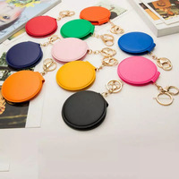 20pcs/lot Mini Pocket Makeup Mirror Cosmetic Compact Mirrors Make up Mirror For Women Mix Portable Double Sides PU Leather Frame