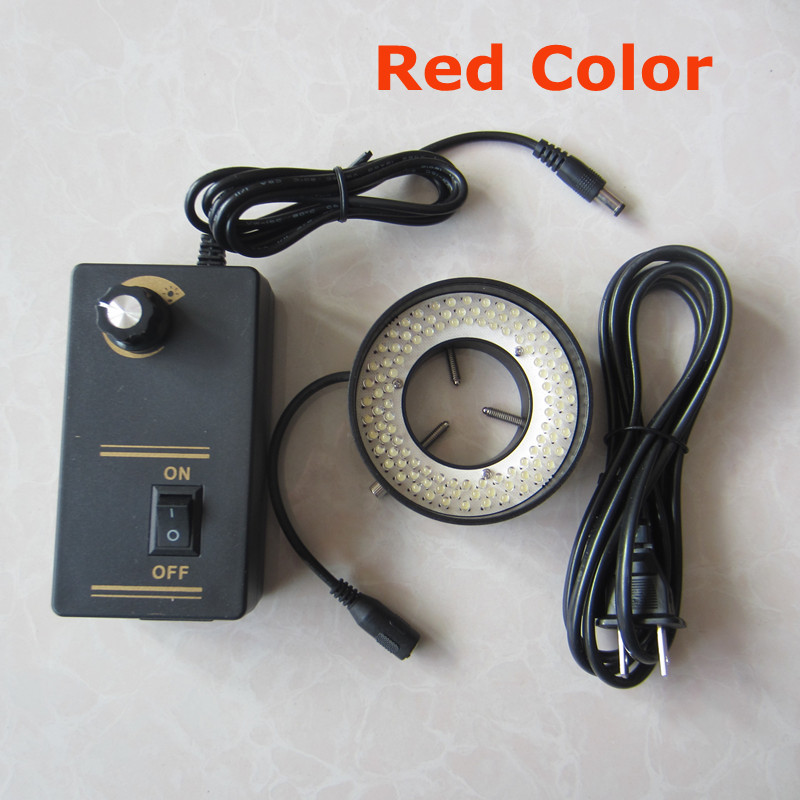 108pcs LED Illuminated Adjuatable Red Light Zoom Ring Lamp for Medical Biological Stereo Microscope 90V-264V Inner Diameter 41mm fyscope red color light 60pcs led adjustable zoom microscope ring lamp with adapter 220v for biological stereo microscopes