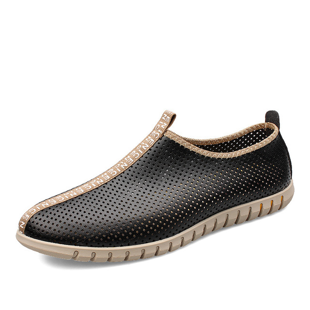 2017 Summer Men Genuine Leather Driving Shoes Fashion Loafers Luxury Brand Slip On Lazy Shoes Casual Man Flats Schoenen ZYA0508