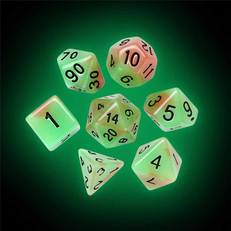 7 pçs/set Digital TRPG Dados Luminosa Jogo Dungeons & Dragons Poliédrico D4-D20 Multi Faces Acrílico Dice #2N22