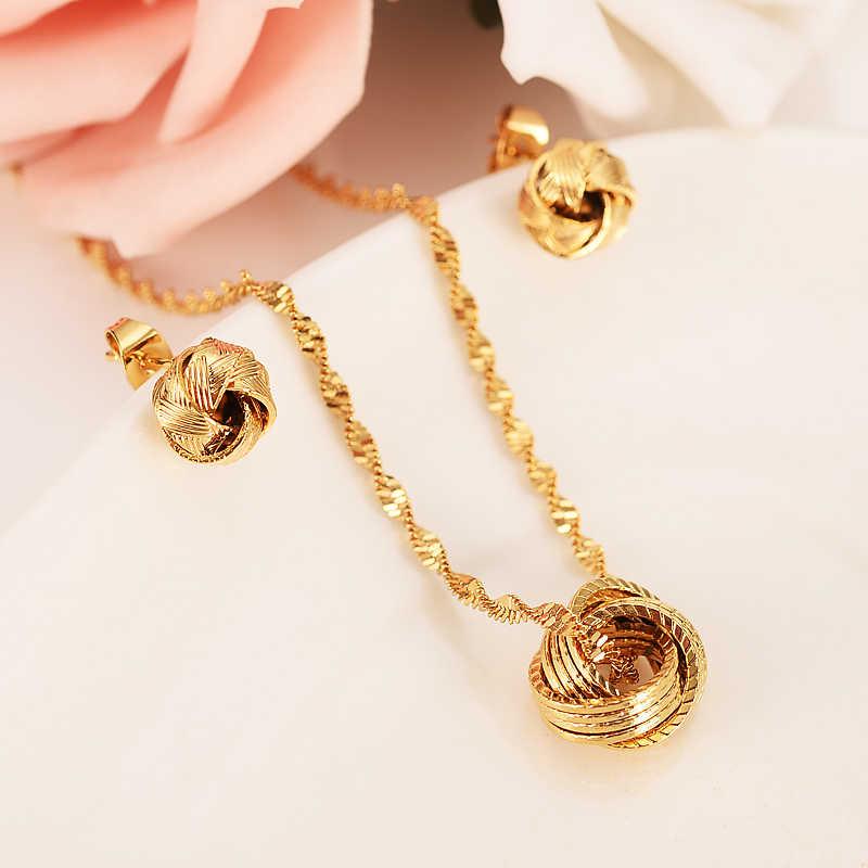 Emas PNG India Perhiasan Set Bulat Bola Rantai Panjang Kalung Emas Warna Rumbai Anting-Anting Anting-Anting untuk Wanita Arab Weddingengagement Hadiah