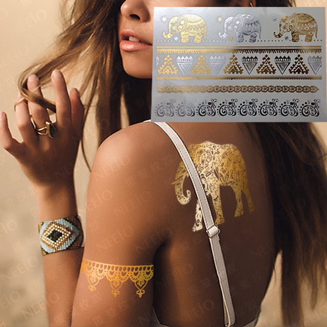 1PC Hot Flash Metallic Waterproof Temporary Tattoo Gold Silver Men Women Henna Elephant Eye Tatuagem Design Tattoo Sticker
