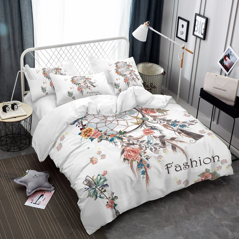 Dreamcatcher ensemble de literie élégant blanc fleur reine taille ensembles de couette romantique Smart couette pour mari et femme ensemble de literie F