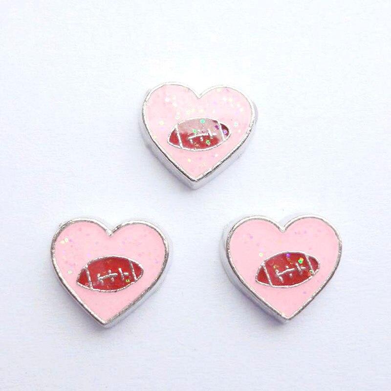 20 шт./лот DIY моды сплав розовые спортивные мячи сердечки амулеты для плавучий движущийся медальон на память - Окраска металла: 002