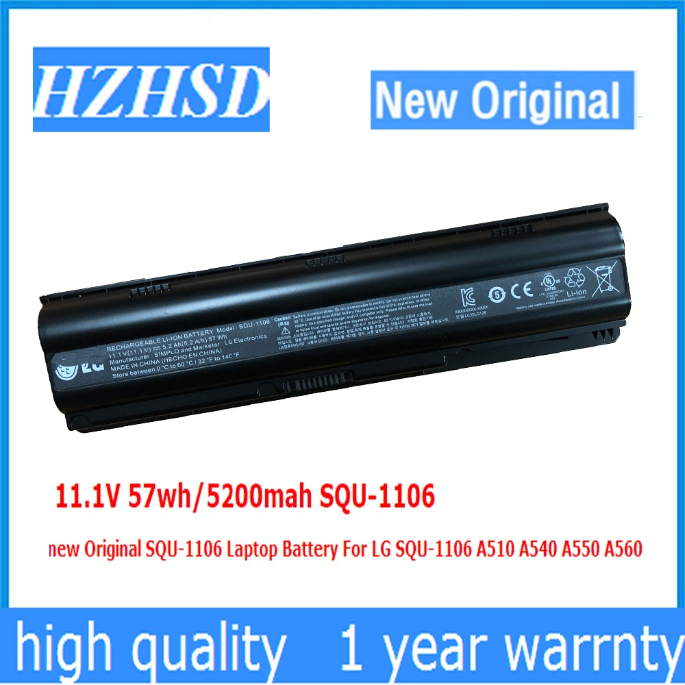 11.1V 57wh/5200mah SQU-1106 new Original SQU-1106 Laptop Battery For LG