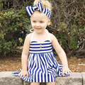 Hello Enjoy Baby girl dress summer 2016 New Brand kids party dresses for girls Condole belt navy stripe princess girls clothes