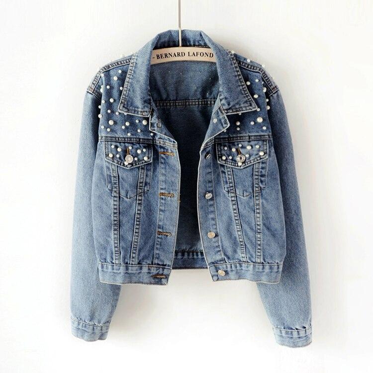 2018 Spring Women Basic Coats Women Denim Jacket Pearls Beading Kpop