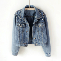 2018 Spring Women Basic Coats Women Denim Jacket Pearls Beading Kpop Jeans Coat Loose Long Sleeve