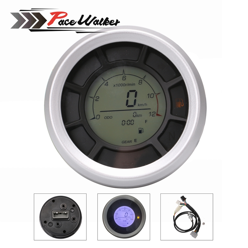 Free shipping 12000RPM 199km/h LCD Digital 95mm Odometer Speedometer Tachometer Gauge for Universal Motorcycle image