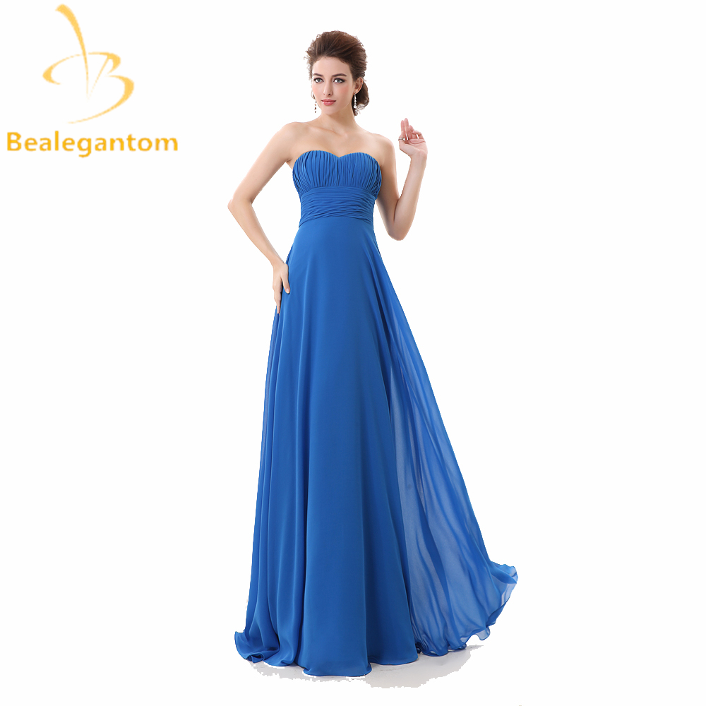 Bealegantom Blue Red Chiffon Long   Prom     Dresses   2019 Plus Size Evening Party Gowns vestido longo Vestido Longo QA1003