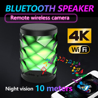 HD colorful light mini Wifi network camera and Bluetooth speaker security camera with night vision two way audio motion detectio