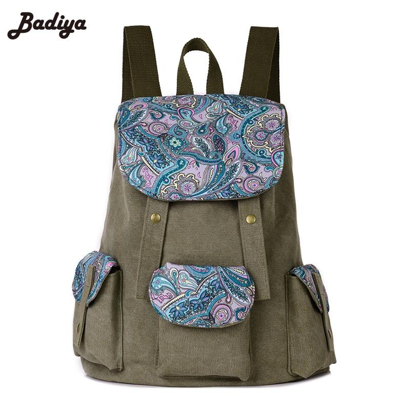 Backpack School for Teenager Girl Laptop Bag Brand Quality Printing Backpack Women Backpack Floral Canvas Bag