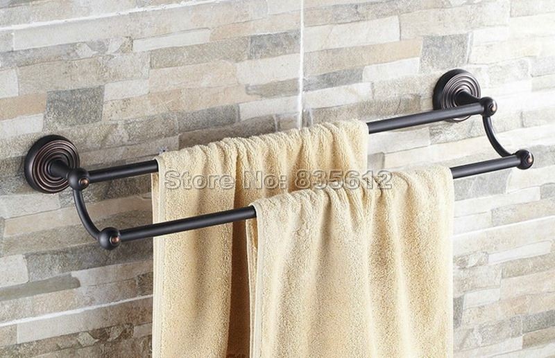 Black Oil Rubbed Bronze Wall Mounted Bathroom Double Towel Bar Rail Towel Holders Wba117 allen roth brinkley handsome oil rubbed bronze metal toothbrush holder