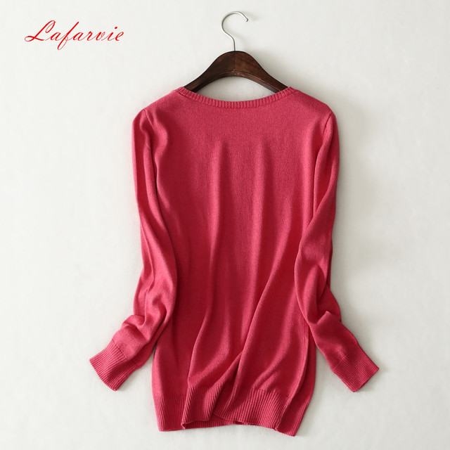 Lafarvie 2017 New Women Clothes Fashion Cashmere Women Full Sleeve Solid Winter Cashmere & Wool Pullovers Sweater O-Neck