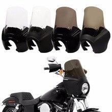 รถจักรยานยนต์ด้านหน้าไฟหน้า Fairing 15 ฝาครอบกระจกสำหรับ Harley Dyna Low Rider Super Wide Glide Fat Street Bob T   Sport