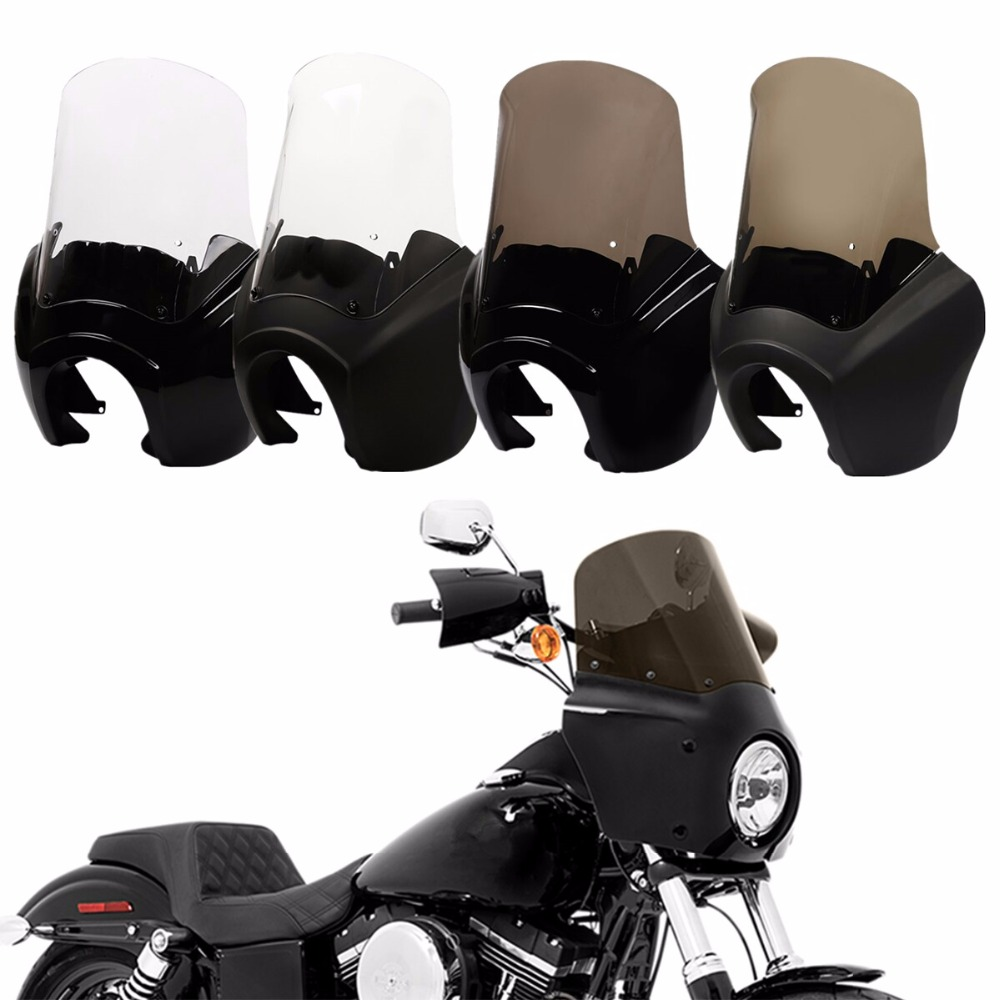 Front Fairing Windshield For Harley Dyna Low Rider Super Wide Glide Fat Street Bob FXDL FLD FXDF FXDXT 06-2017 motorcycle detachable quarter headlight fairing kit for harley sportster fxr 1986 1994 dyna 1995 2005 for harley 883 fat bob super glide