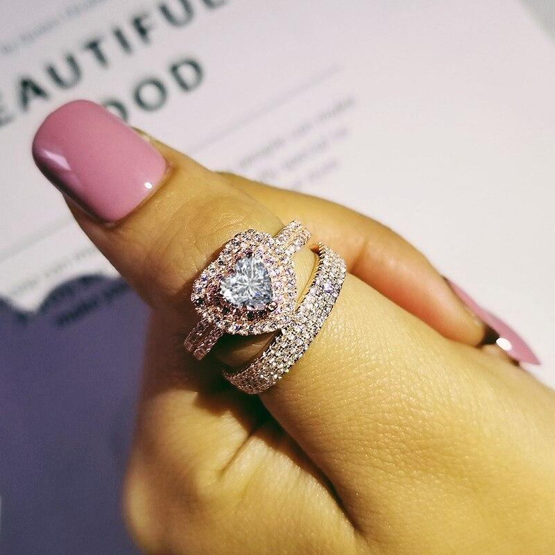 Moonso rose or couleur réel 925 bague en argent Sterling pour les femmes de fiançailles ensemble d'anneaux de mariage bijoux zircone LR4903S