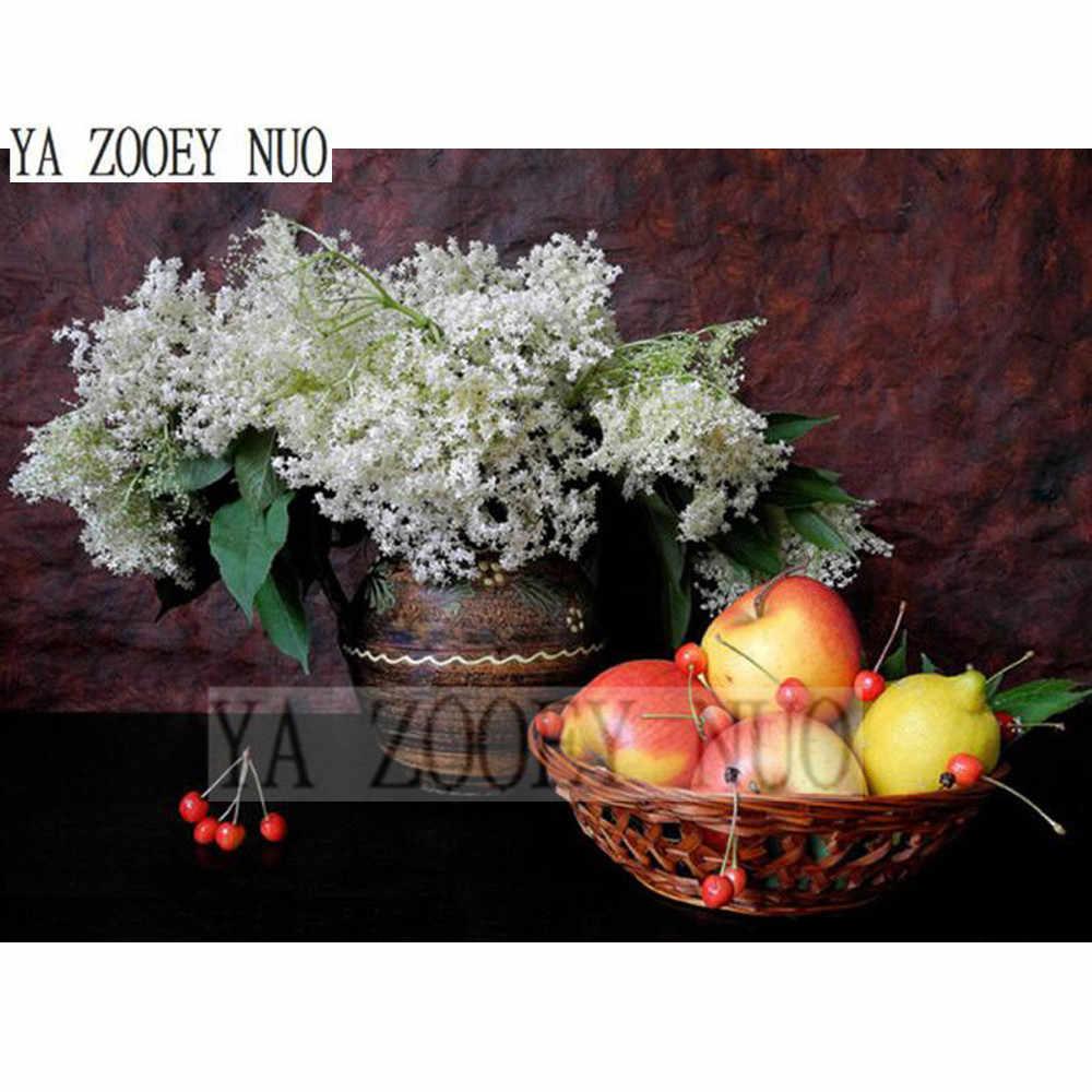 Diy diamante pittura a punto croce di fiori e apple di cristallo ciliegie diamante needlework diamante pieno ricamo decor regalo kl971
