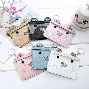 Cute Kawaii Bear Transparent Mini Card Bags Coin Purse Women PU Leather Girls Card Holder For Kids Purse Key Wallet Children Bag