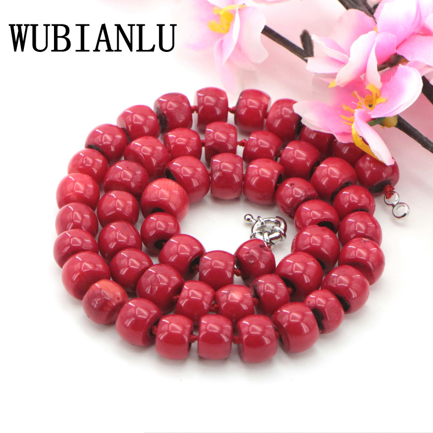WUBIANLU New Fashion 10-12mm Natural Red Sea Coral Bead Necklace Chokers Necklaces For Womens Costume Jewelry Hot Sale Charming stylish circle bead layered chokers necklace