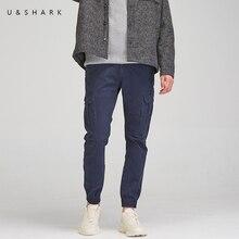 U& SHARK осенние мужские брюки карго, темно-синие тактические брюки, модные уличные облегающие брюки с несколькими карманами, Стрейчевые хлопковые брюки для мужчин