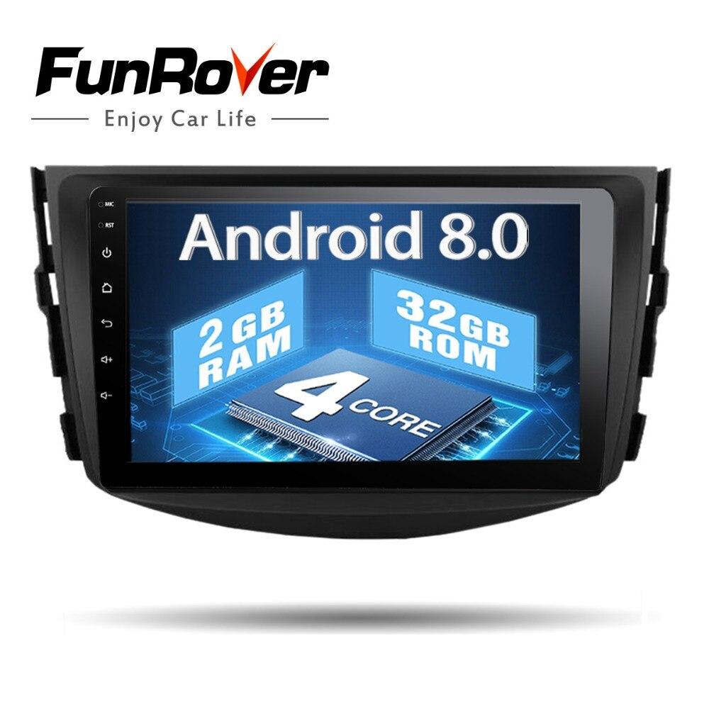 Funrover Android8.0 IPS 2 din Lecteur dvd de Voiture Pour Toyota RAV4 Rav 4 2007 2008 2009 2010 2011 autoradio ruban recroeder gps WIFI BT