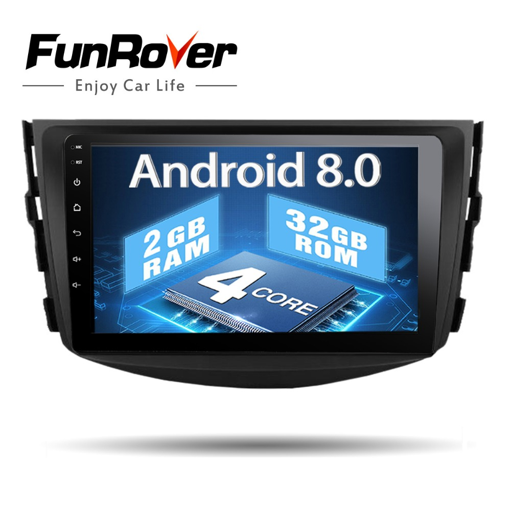 Funrover Android8.0 IPS 2 din Voiture lecteur dvd Pour Toyota RAV4 Rav 4 2007 2008 2009 2010 2011 autoradio bande recroeder gps WIFI BT