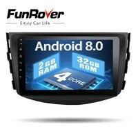 Funrover Android8.0 ips автомобильный dvd плеер с двумя цифровыми входами для Toyota RAV4 для Toyota Previa Rav 4 2007 2008 2009 2010 2011 Автомагнитола лента recroeder gps WI FI BT