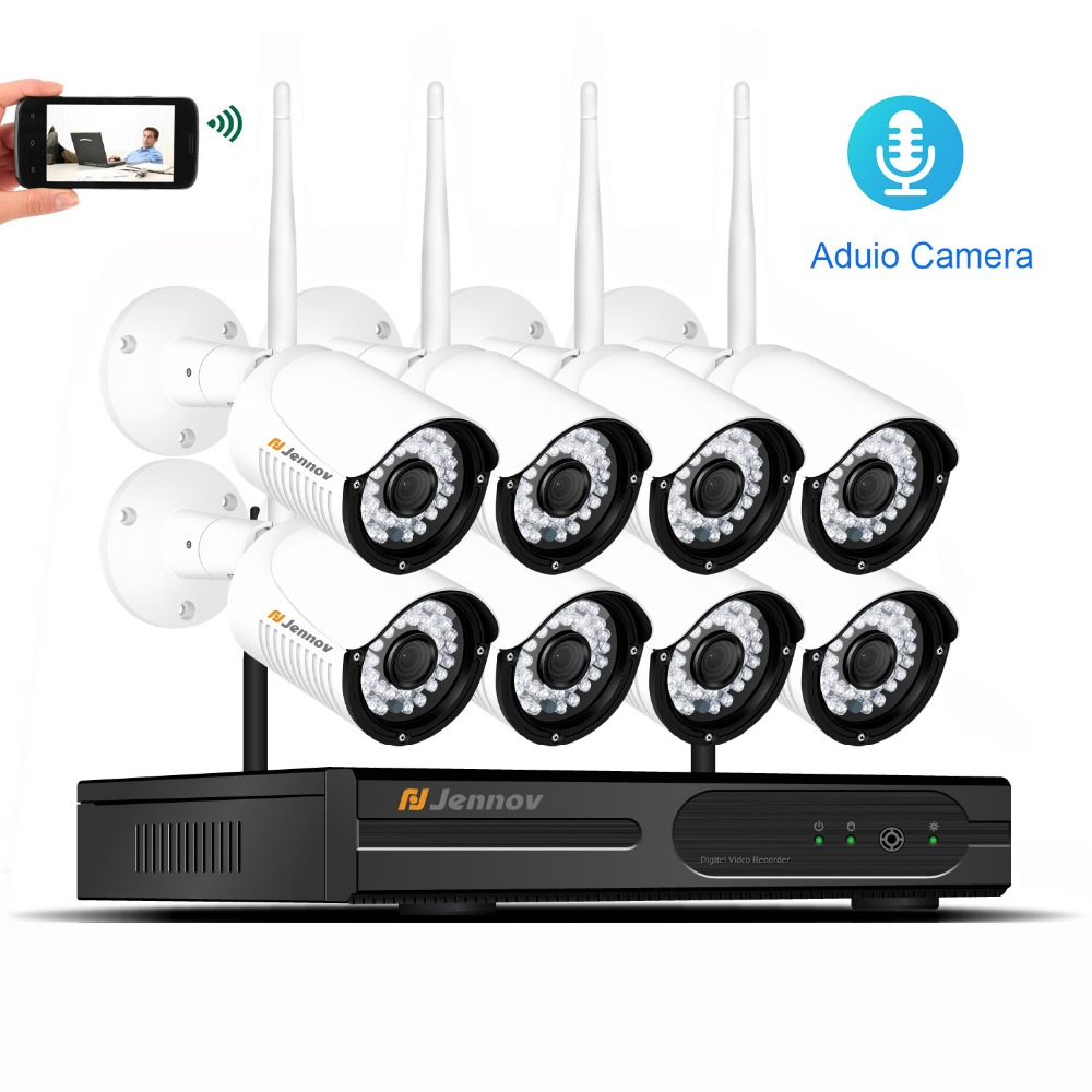 Full HD 960P 8CH Home Wireless Security CCTV Camera System Audio Sound Record Set NVR Outdoor Video Wifi Surveillance Kit Camera 3 5mm male to 6 35mm male audio connection cable black 1 5m