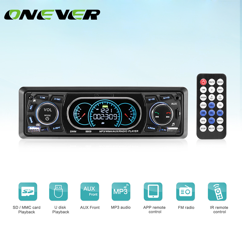 Onever 1-Din Car Stereo Audio MP3 Radio Player Bluetooth Car MP3 Player Support USBFM Receiver with Wireless Remote Controller