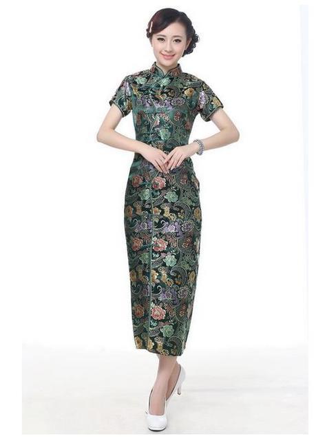 Navy Blue Women Satin Halter Qipao Cheongsam Chinese Traditional Long Dress Summer Flower Dress Size S M L XL XXL XXXL WC024
