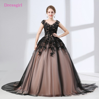 Black Vestido De Noiva 2018 Wedding Dresses Ball Gown Cap Sleeves Tulle Appliques Lace Cheap Boho